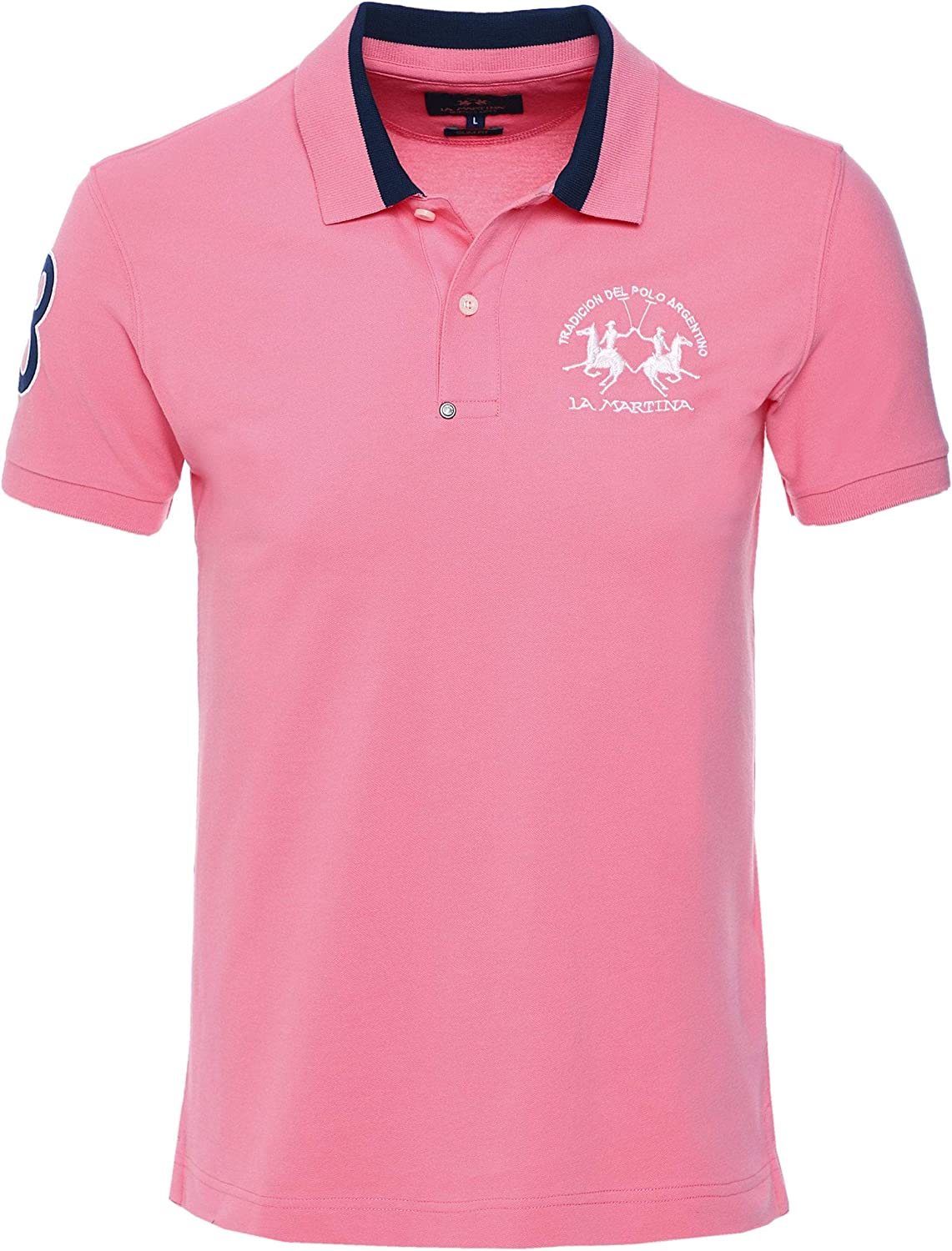 La Martina Hombres Camisa de Polo Enea Slim Fit Color De Rosa L ...