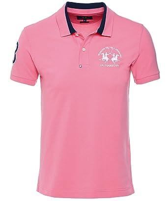 La Martina Hombres Camisa de Polo Enea Slim Fit Color De Rosa L ...