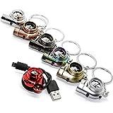 LED-Mafia USB Elektro Turbo Schlüsselanhänger - mit Sound & Licht Turbolader Keychain Chrom Metall Anhänger Schlüssel (Chrom-Matt Optik)