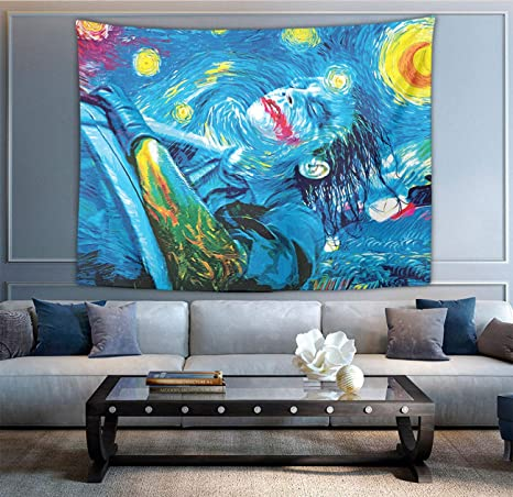 Amazon Com Tapestry Starry Night Joker Painting Tapestries Wall Hanging Tapestry Home Decor For Living Room Bedroom Dorm Room Beach Picnic Mat 60 X 70 Inches Home Kitchen