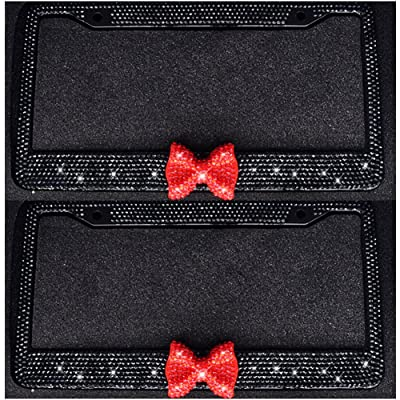 Bling Bling License Plate Frames -8 Row Pure Handmade Waterproof Glitter Rhinestones Crystal License Frames Plate for Cars with 2 Holes with Screws Caps Set (2-Pack Red Bow): Automotive
