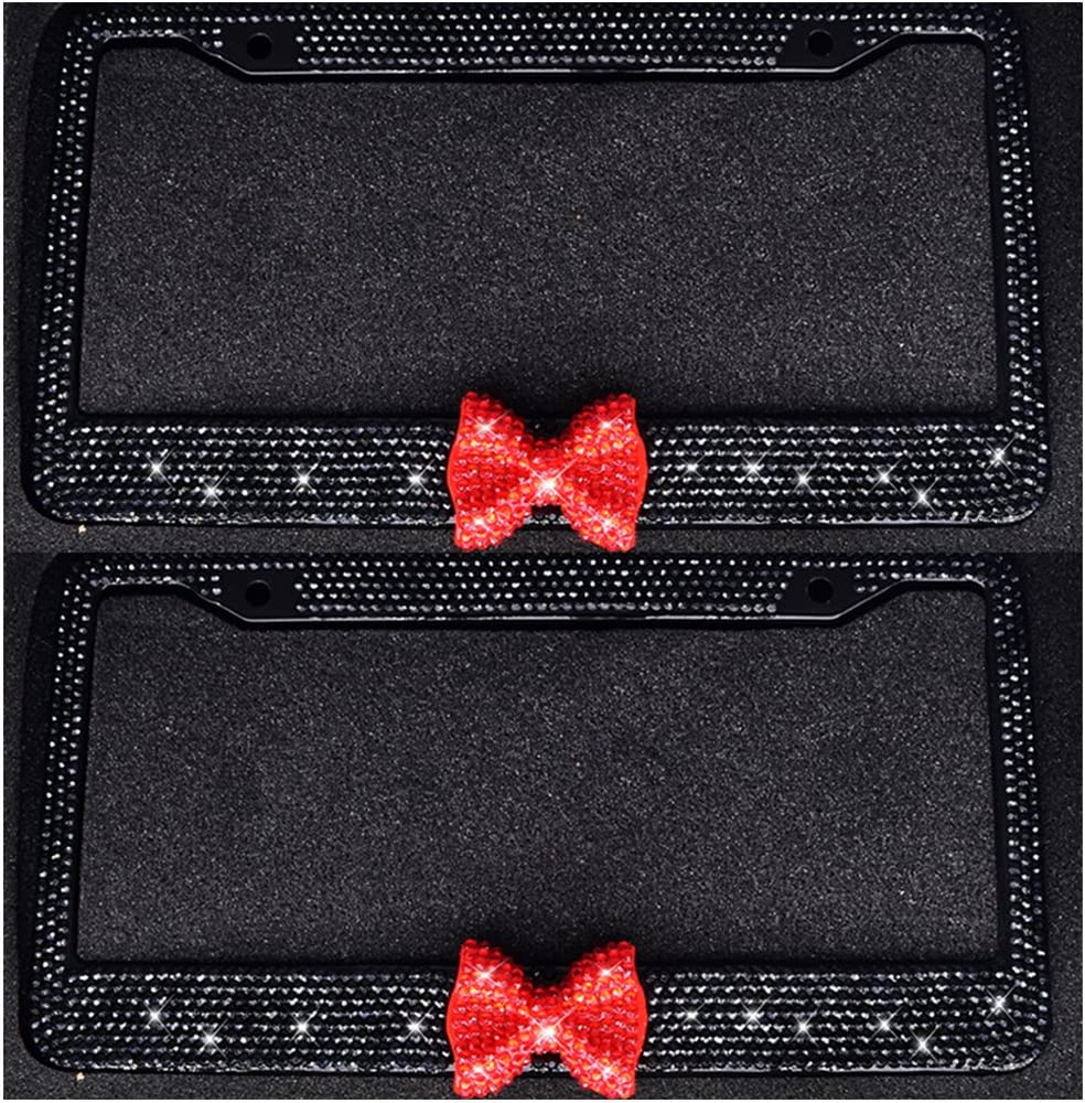 Bling Bling License Plate Frames 8 Row Pure Handmade Waterproof Glitter Rhinestones Crystal License Frames Plate for Cars with 2 Holes with Screws Caps Set 2-Pack Red Bow