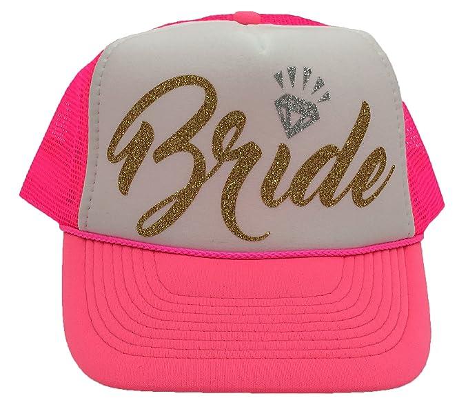 8ba906804dc Amazon.com  Bachelorette Party Bride Tribe Mesh Trucker Snap Back Hat (Neon  Pink White Hat