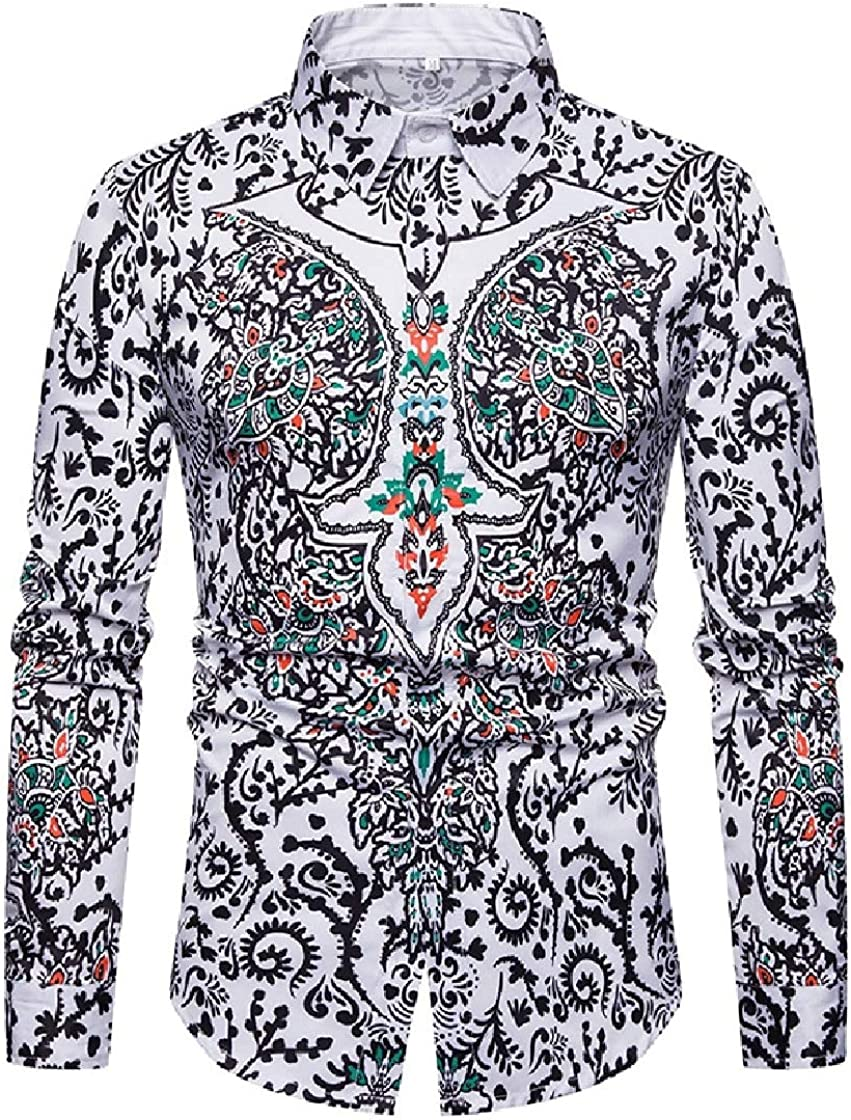 YUNY Mens Turn Down Collar 3D Long-Sleeve Navajo Floral Work Shirt White L