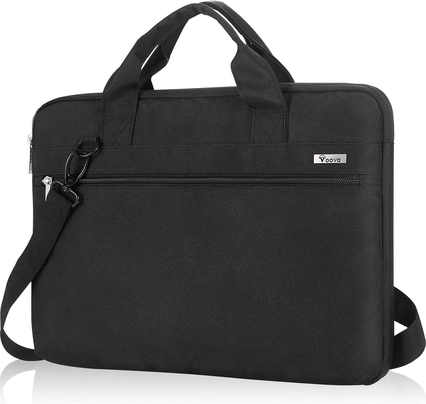 Voova Laptop Sleeve Shoulder Bag 14-15.6 Inch Carry Case, Upgrade Computer Messenger Briefcase Compatible with MacBook Pro 16 15, Surface Book 2 15, Asus Acer Dell Hp Chormebook with Organizers, Black