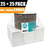 [25 Boxes and 25 Circles Pack] 6x6x3 White Pie/Cake Box with Window and 6 Inch Round Base Board - Cardboard Gift Packaging for Cupcake, Cookie and Pastry, Auto-Popup Restaurant and Bakery Containers