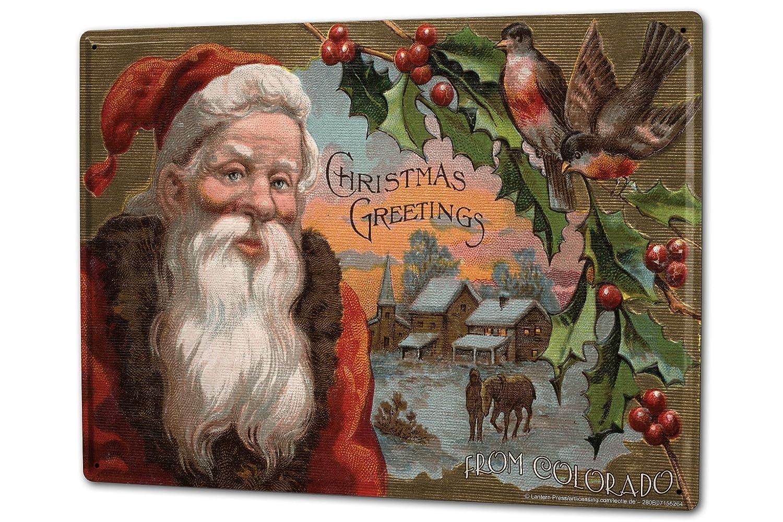 Cartel Letrero de Chapa XXL Santa Claus Muérdago de Santa ...