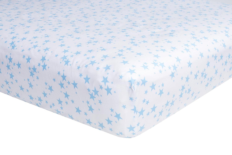 Tama/ño europeo 140X70 cm S/ábana ajustable algod/ón tejido suave blanco y azul