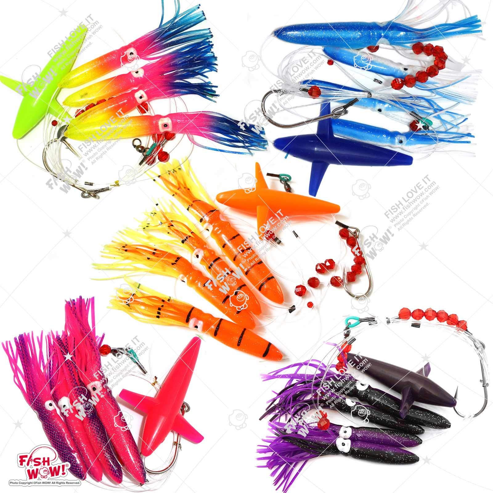 Fish WOW! Fishing Daisy Bird Chain Squid Lure Rig Teaser Trolling - Set of 5 - by Fish WOW!