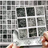 """18 GRANITE MOSAIC EFFECT WALL TILES - 2mm Thick and solid Self Adhesive Stick on Wall Tile Stickers Transfers - 18 tiles per box 4""""x 4"""" (10cm x 10cm) - NO CEMENTING ! NO GROUTING ! Each box of 2mm Thick Solid Tile Stickers will totally cover over the area underneath of 2 square feet. TILE OVER ANY SIZE OF TILE OR ONTO THE WALL, thick Self Adhesive Wall Tiles that are Water and Steam Resistant for both Kitchens and Bathrooms."""