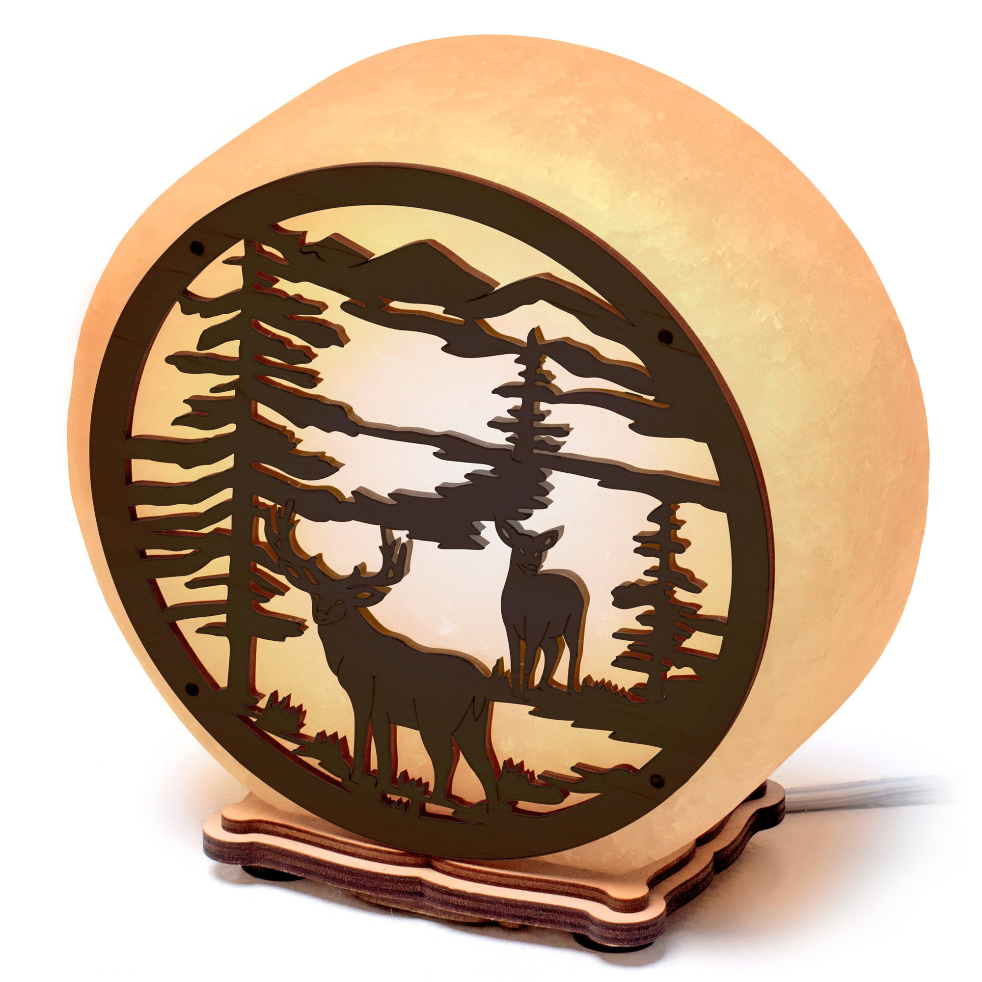 Natural Salt Lamp ARTSALT «Deers in The Forest» - Rock Salt lamp with dimmable Premium Switch in Craft Gift Box, Hunter Home Décor