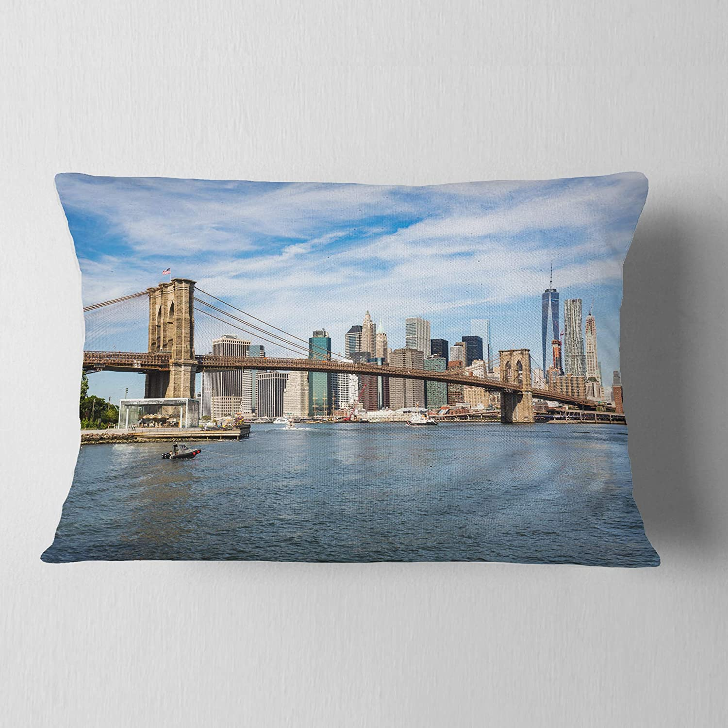 Insert Printed On Both Side x 20 in in Sofa Throw Pillow 12 in Designart CU9876-12-20 Summer Day Brooklyn Bridge Cityscape Lumbar Cushion Cover for Living Room
