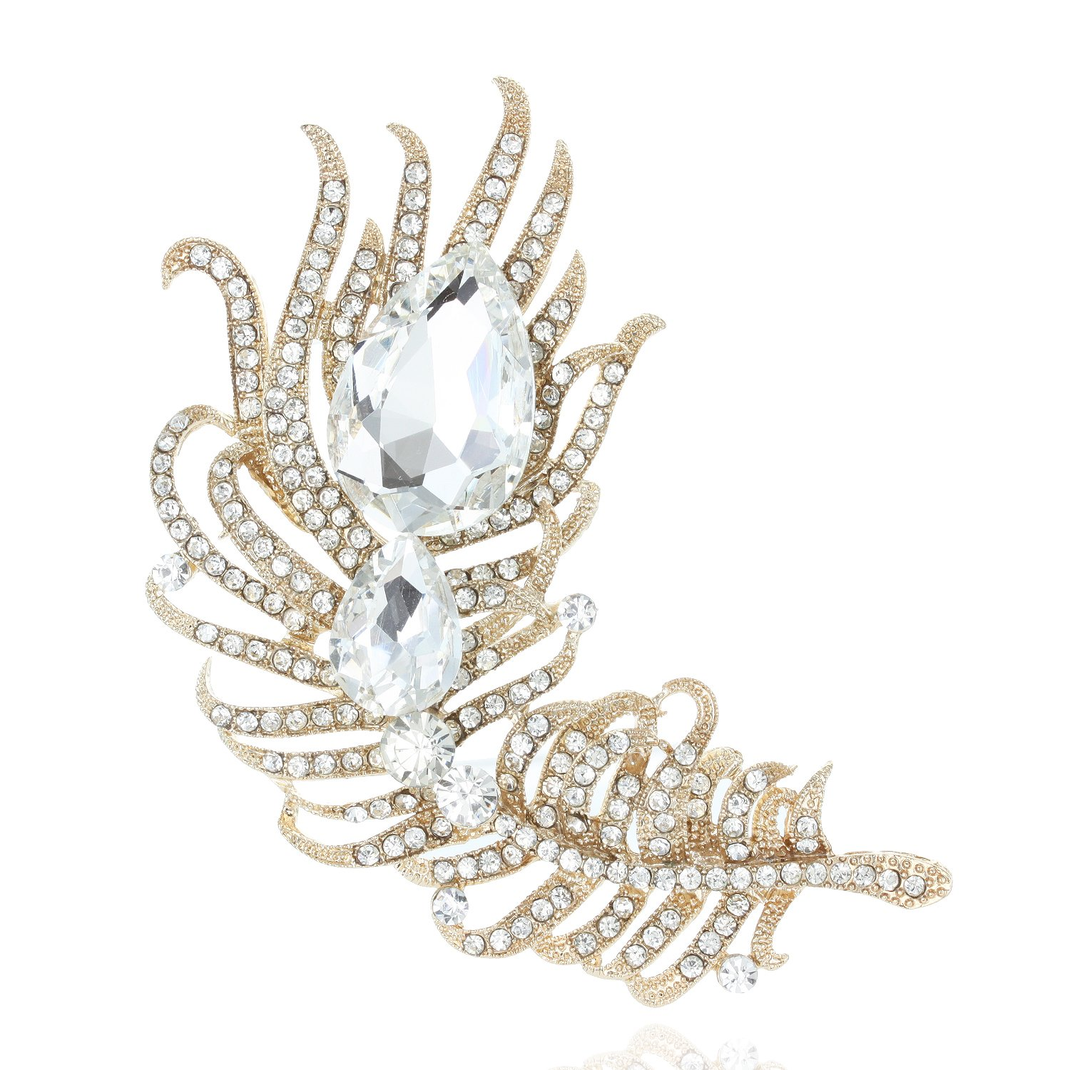 SP Sophia Collection Decorative Cubic Zirconia Rhinestone Pave Peacock Feather Fashion Dress Brooch in Gold