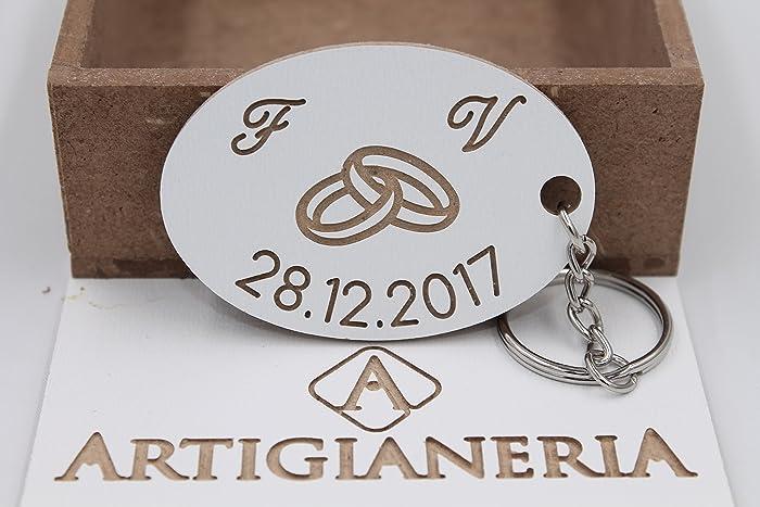 Artigianeria Portachiavi In Legno Personalizzato Con Fedi
