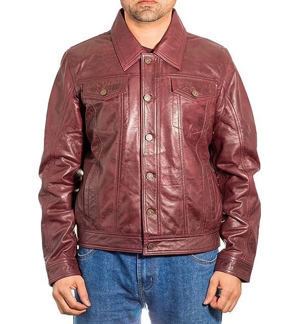 A to Z Leather Chaqueta para Hombre Rojo de Borgo-a de Cuero Real de Levis Pantalones Vaqueros del Dril Estilo Equipada: Amazon.es: Ropa y accesorios