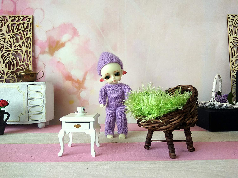 Dollhouse Furniture 1:8 Scale Mini Wicker Armchair Lati Yellow Miniature Chair