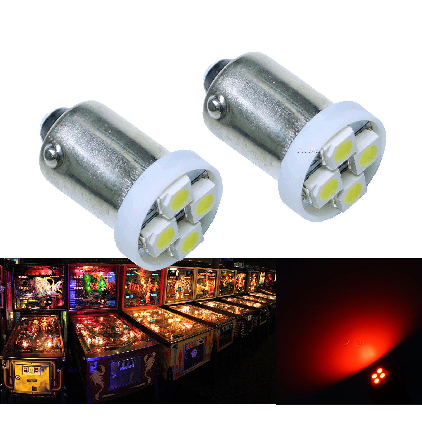 PA 10PCS #1893 #44 #47 #756 #1847 BA9S 4SMD LED Wedge Pinball Machine Light Bulb Red-6.3V