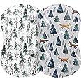 Pobi Baby - 2 Pack Premium Bassinet Sheets for Standard Bassinets - Ultra-Soft Cotton Blend, Stylish Animal Woodland Pattern,
