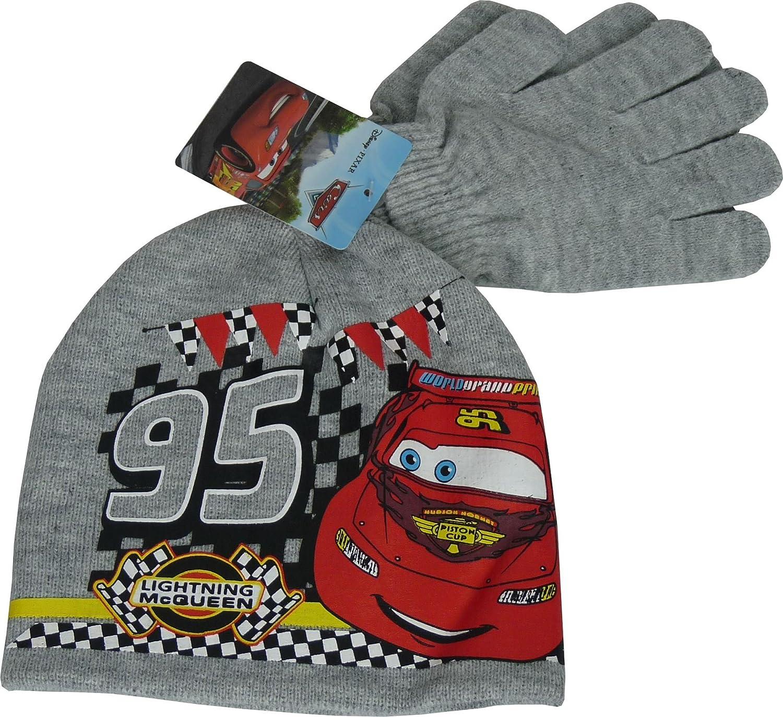 Boys Disney Cars Lightning McQueen Winter 2 Piece set Beanie, Hat & Gloves Grey Hat & Gloves Grey-54 cm PH4234