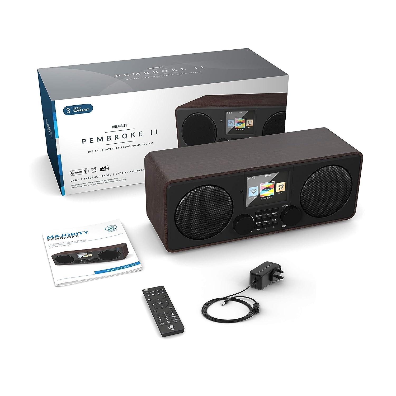 // FM et Radio Internet USB et entr/ée auxiliaire Spotify Noyer Majority Pembroke II Digital Dab//Dab Bluetooth