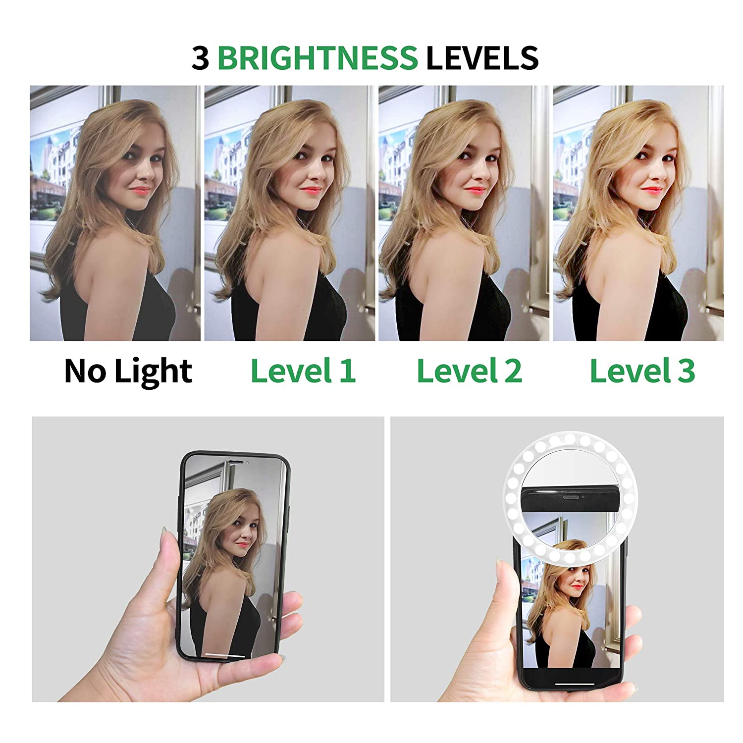 White-C, 36LED Camera Video Girl Makes up Selfie Ring Light XINBAOHONG Rechargeable Portable Clip-on Selfie Fill Light with 36 LED for Smart Phone Photography