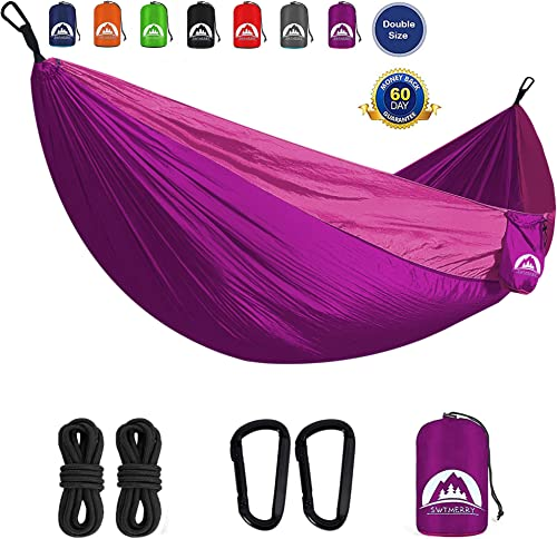 SWTMERRY- Double Camping Hammock Lightweight Nylon Portable Hammocks with Tree Straps Hammock 2 Person Heavy Duty Hammock Backpacking Lightweight, for Adults Kids Hiking Beach Purple Pink