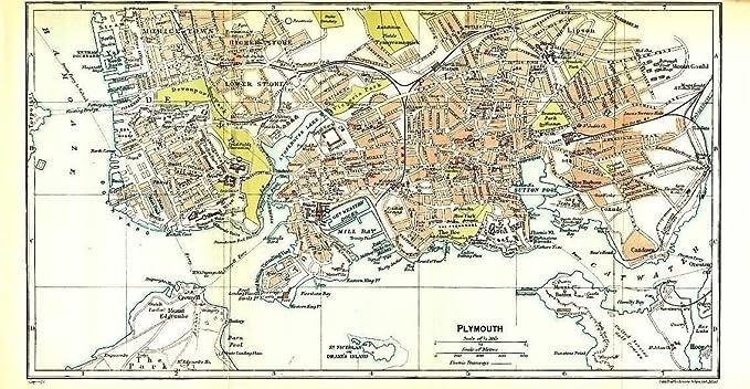 Amazon Com Plymouth England 1924 Color Lithograph City Street Plan
