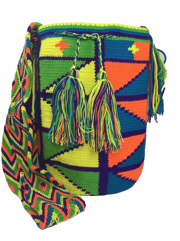 Wayuu Mochila 100% Authentic Colombian Ethnic Hand Woven Shoulder Large Handbag -Multicolor