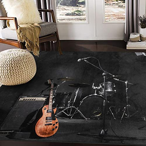 ALAZA Musical Instruments Guitar Black Area Rug Rug