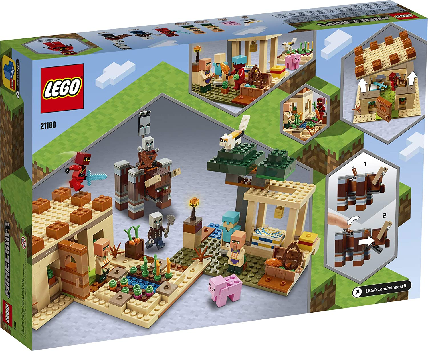 LEGO Minecraft The Illager Raid 9 Building Toy Action Playset for Boys  and Girls Who Love Minecraft, New 9 (9 Pieces)