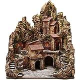 Borgo presepe illuminato con capanna ruscello forno 80x62x58 cm