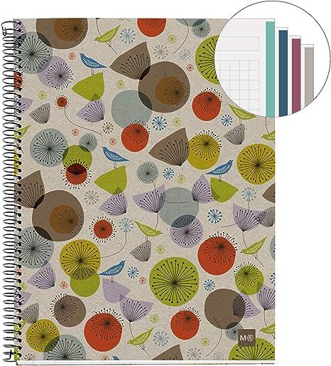 MIQUELRIUS - Cuaderno Notebook 100% Reciclado - 4 franjas de color, A5, 120 Hojas cuadriculadas 5mm, Papel 80 g, 2 Taladros, Cubierta de Cartón Reciclado, Diseño Ecobirds: Amazon.es: Oficina y papelería