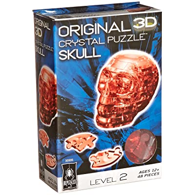 BePuzzled Original 3D Crystal Jigsaw Puzzle - Skull DIY Assembly Brain Teaser, Fun Model Toy Gift Decoration for Adults & Kids Age 12 and Up, Red, 48 Pieces (Level 2): Game: Toys & Games [5Bkhe0706272]