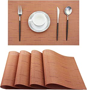 BeChen Placemats,Washable Easy to Clean Woven Vinyl Kitchen Placemats for Dining Table,Set of 4(Orange)