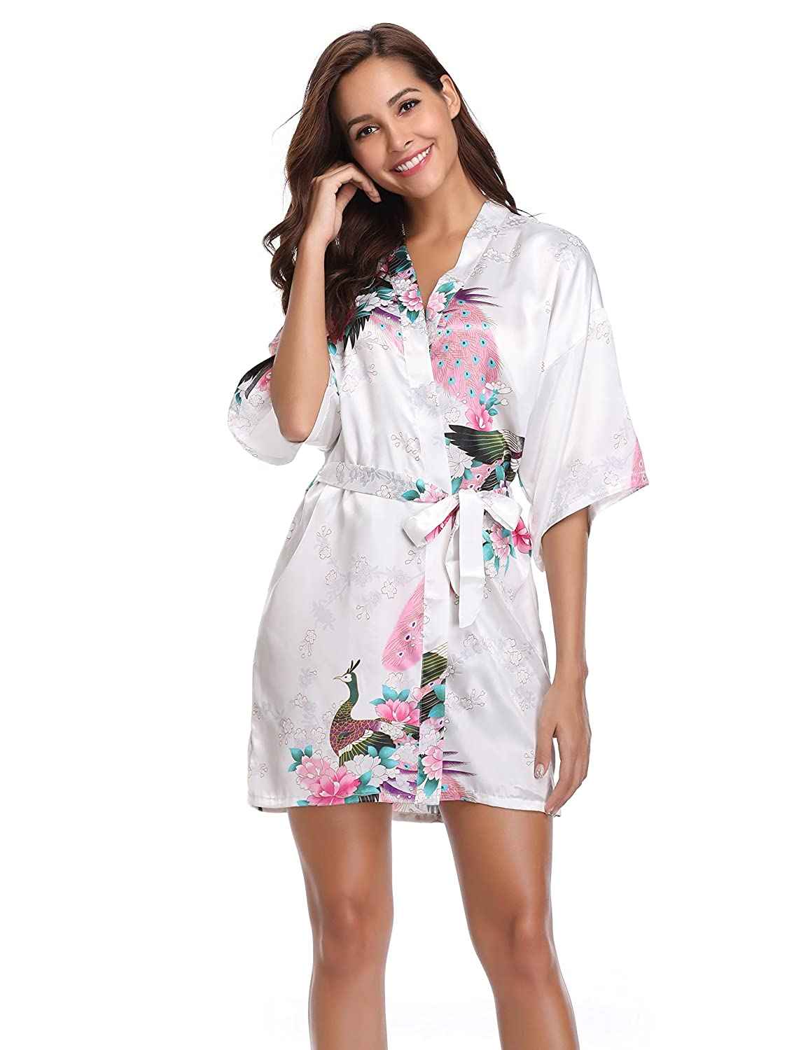 5f1d67a885 Vlazom Women Kimono Robes Satin Dressing Gown Peacock and Blossoms Sleep  Lounge Nightwear Short Silk Bride Bridesmaid Robe  Amazon.co.uk  Clothing