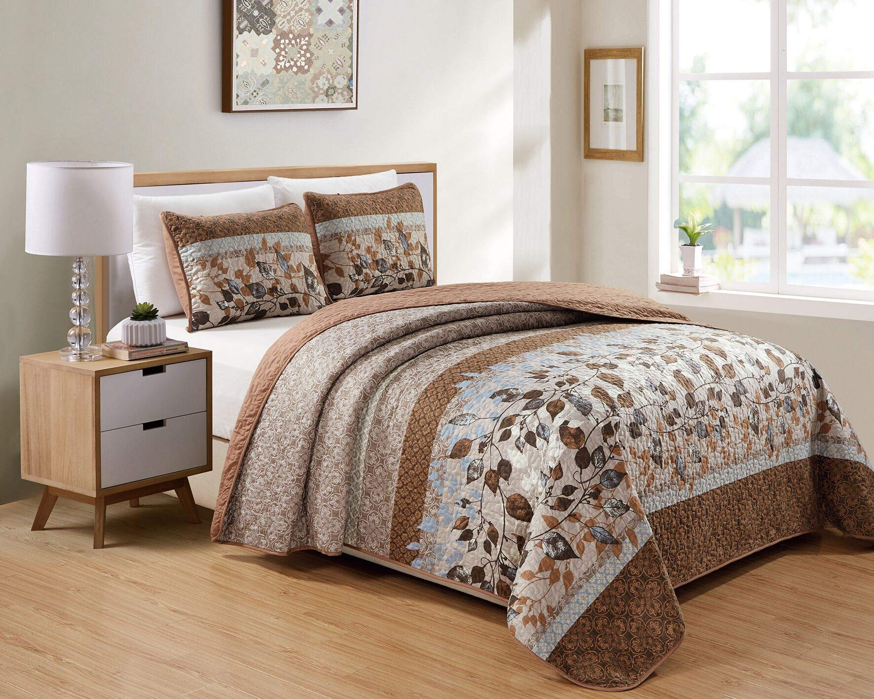 Kids Zone Home Linen 2 Piece Twin/Twin Extra Long Over Size Bedspread Set Brown Tan Sky Blue Leaves White by Kids Zone Home Linen