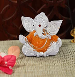 TIED RIBBONS Silver Plated Decorative Ganesh Ji Murti Idol Figurine Statue (2.75 inch X 2 Inch) - Ganesh Idol for Home Décor car Dashboard