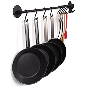 wallniture Pot Pan Tapa para colgar utensilios de cocina barra con ganchos de hierro negro 33
