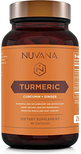 Turmeric Curcumin with Bioperine and Ginger 1810mg – Pain Relief, Joint Support, Anti-Inflammatory, Antioxidant Supplement with 95 Standardized Curcuminoids – Non-GMO, Gluten Free – 90 Vegan Caps