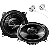 """Pioneer TS-G1020S 420 Watts Max Power 4"""" 2-Way G-Series Coaxial Full Range Car Audio Stereo Speakers with ALPHASONIK Earbuds"""