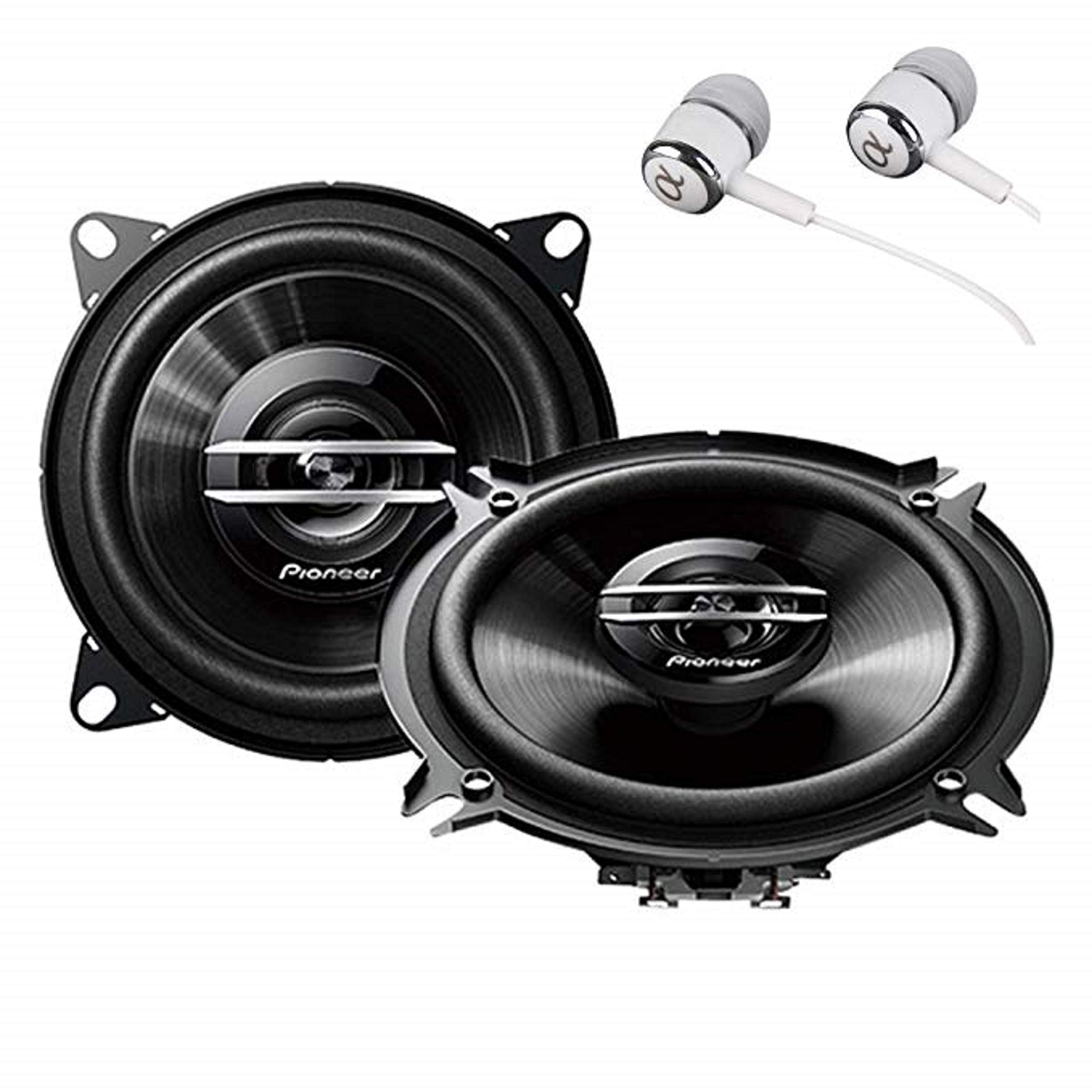 "Pioneer TS-G1020S 420 Watts Max Power 4"" 2-Way G-Series Coaxial Full Range Car Audio Stereo Speakers with ALPHASONIK Earbuds"