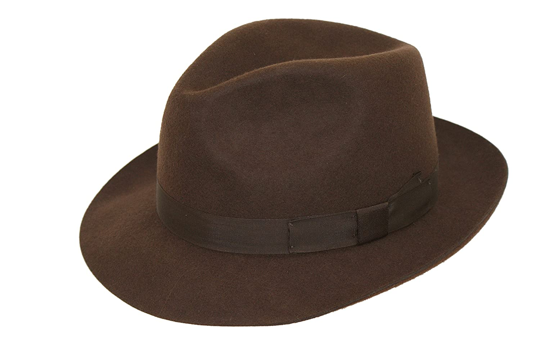 Men s Dark Brown Wool Trilby Fedora Hat GD  Amazon.co.uk  Clothing 5a66074b7dd