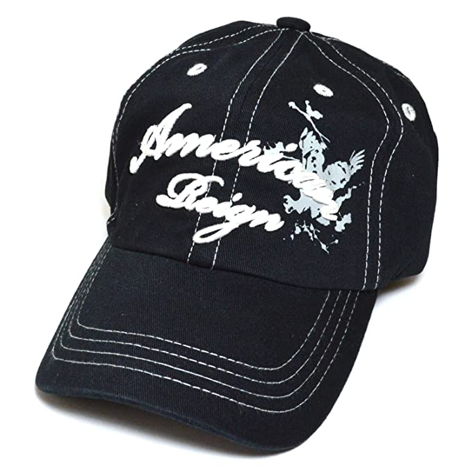 d43cc4624b5 American Reign Embroidered Baseball Cap Polo Style Cotton Dad Golf Hat ( Black)