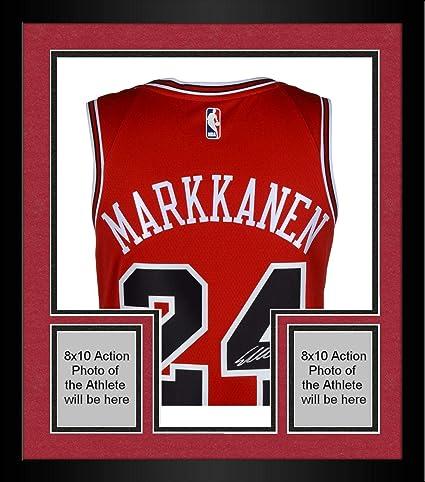 the latest f7629 3e752 Framed Lauri Markkanen Chicago Bulls Autographed Red Nike ...