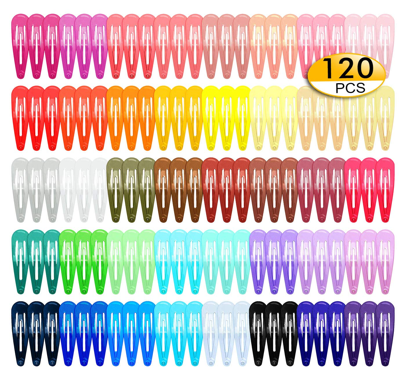 120Pcs Snap Hair Clips, 2 Inch Metal Barrettes in 40 Assorted Color, No Slip Cute Solid Candy Color Hair Accessories for Girls, Women, Kids Teens or Toddlers : Beauty