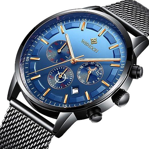 815300cce17a Relojes Hombre Mejor Marca Acero Inoxidable Impermeable Malla Deportes  analógico de Cuarzo Hombres Reloj Moda Negocios de Lujo Cronógrafo  Calendario Azul ...