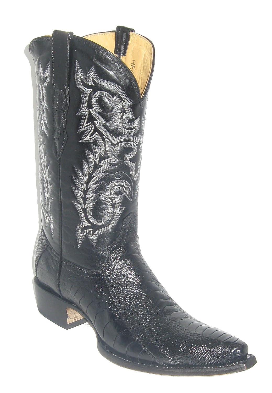Ostrich Leg Cowboy Boots N896 Black
