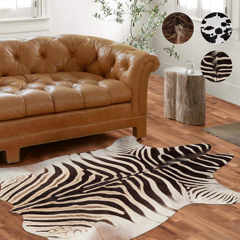 Vangao Area Rug Faux Zebra Print Fun Animal Shape Mat Safari Theme Carpet for Home 5'1