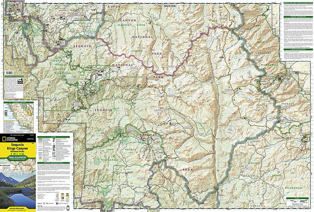Sequoia and Kings Canyon National Parks (National Geographic Trails on giant sequoia national park map, kings canyon np map, california national parks map,