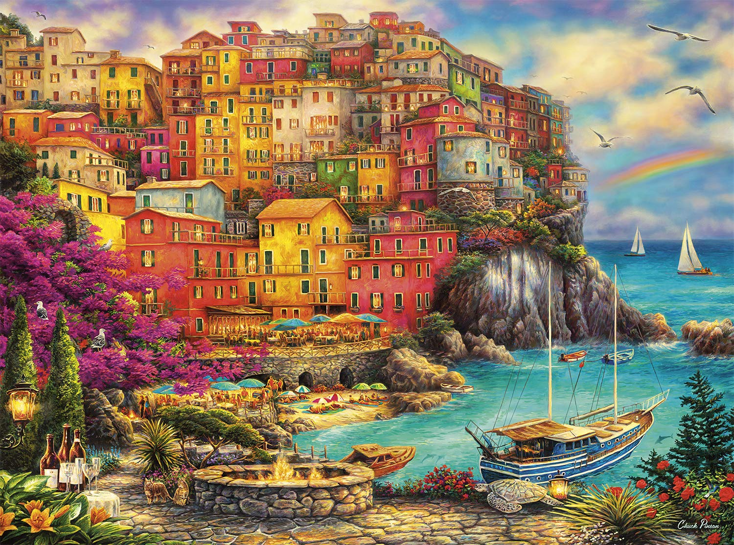 Buffalo Games - Chuck Pinson - A Beautiful Day at Cinque Terre - 1000 Piece Jigsaw Puzzle